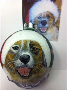 The perfect gift for the pet lover! Includes paw print on the back with the pets name. Presented in a holiday gift box with hanger and gift tag. Upload a clear face shot here of the pet. Please include name. Dog Christmas Ornaments, Christmas Animals, Christmas Dog, Christmas Bulbs, Pet Dogs, Dog Cat, Pets, Engagement Ornaments, Pet Names