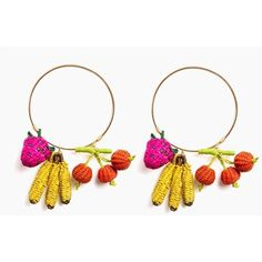 """Part of the """"Tuti Fruti"""" collection by Mercedes Salazar, the Tropicalia Hoops feature woven fruit charms for a fun pop of color! Bronze hoop Hand woven charms …"""