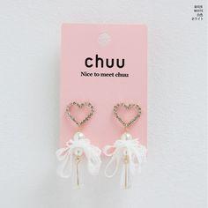CHUU Lace Heart Pearl Earring