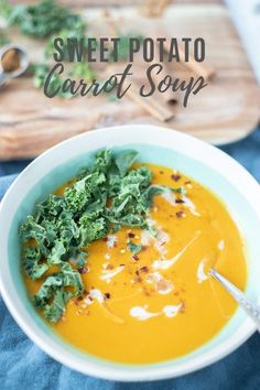 This sweet potato and carrot soup recipe is simple creamy and absolutely delicious. Perfect for an easy healthy weeknight meal all you need is a handful of ingredients and a little time to make this delicious recipe. Easy Dinner Recipes, Gourmet Recipes, Soup Recipes, Whole Food Recipes, Cooking Recipes, Healthy Recipes, Free Recipes, All You Need Is, Sweet Potato Carrot Soup