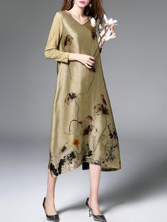 Shop Midi Dresses - V Neck Floral Long Sleeve Vintage A-line Midi Dress online. Discover unique designers fashion at StyleWe.com.