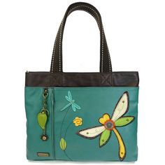 Chala Big Tote, Faux Leather, Canvas Handles, Animal Prints Dragonfly-Dark.Spacious, eye catching, and accessible. Designed in California, USA!