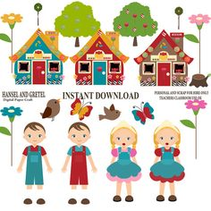 hansel gretel digital clip art clipart set by collectivecreation rh pinterest com Hansel and Gretel Story Printable hansel and gretel candy house clipart