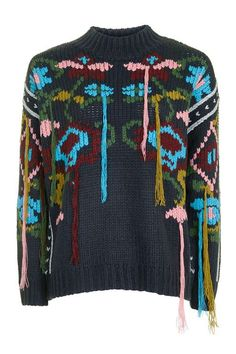 Luxe Floral Stitch Tassel Jumper