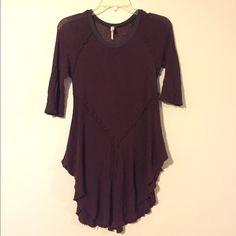 Free People Maroon Blouse Maroon 3/4 length sheer blouse. Free People Tops Blouses