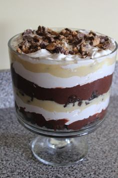 Rachel Douglas, Aunt Kim needs to make this next time! Reece's Peanut Butter Trifle Recipe. YUM!!