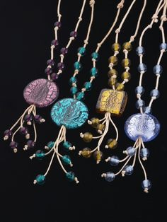 Murano glass necklaces on string from Venice, Italy. Image by Osbert Kwan Photography, Toronto
