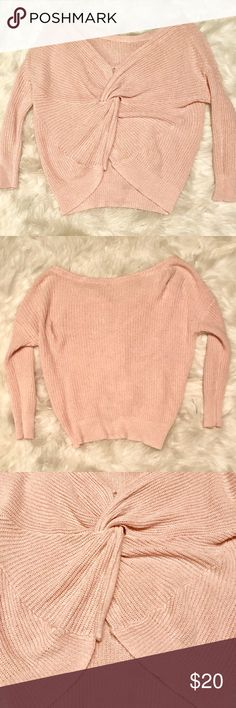 Express Twist Back Pullover Sweater Only worn once! Perfect condition, part of the tag is even still on it. The twist back is so cute but not really my style. Light pink color and all around gorgeous sweater that works well for work, casual, or nights out! Express Sweaters