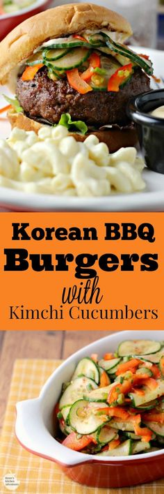 Korean BBQ Burgers with Kimchi Cucumbers | by Renee's Kitchen Adventures - easy recipe for grilled burgers and spicy cucumbers that make a great topping or side dish @Giant Eagle #SummerofGrilling #ad