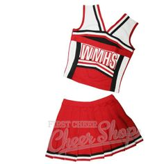 FIRST CHEER Cheer Shop WMHS Glee Flyaway Skirt Cheerleading Uniform ($115) ❤ liked on Polyvore