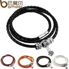 Silver Charm Black Leather Bracelet for Women