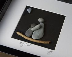 Items similar to Pebble art - Dad, you rock! on Etsy Pebble Pictures, Art Pictures, Rock Painting Patterns, Father's Day Diy, Gone Fishing, Handmade Items, Handmade Gifts, Pebble Art, Stone Art