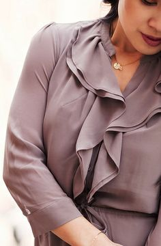 cute & little blog | petite fashion | spring neutrals | taupe chiffon ruffles dress outfit, initial necklace, beige handbag