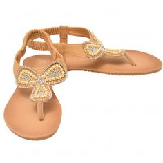 Lucita Adult Tan Glitter Rhinestone Clover Flip Flop Sandals 5.5-10 Women