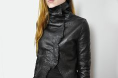 Visions of the Future: NOCTEX Crinkle Leather Jacket with Linen Lining. Handmade to order
