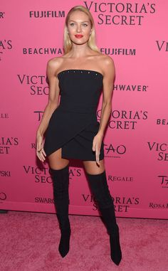 Candice Swanepoel from 2015 Victoria's Secret Fashion Show After-Party  Va va voom! The South African stunner paired her LBD with thigh-high boots.
