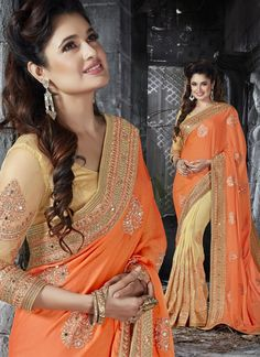 Make the heads turn the moment you costume up in this sort of a charming crepe and faux chiffon half n half saree. The amazing attire creates a dramatic canvas with superb diamond work, mirror work, r...