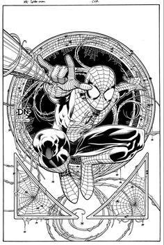 Cover inks for Marvel Adventures Spider-Man, over David Nakayama pencils. Keep an eye on that Nakayama guy. Marvel Comic Universe, Marvel Dc Comics, Marvel Heroes, Marvel Characters, Black Spiderman, Spiderman Art, Superhero Coloring, Spiderman Coloring, Spiderman Tattoo