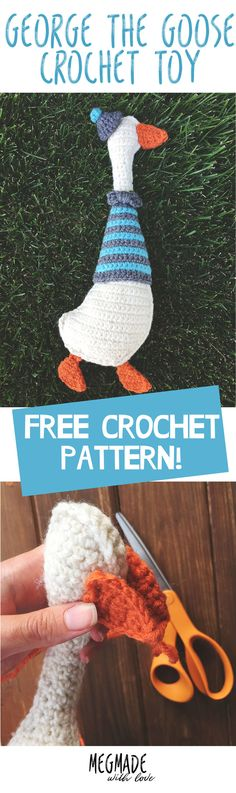 Hey-o!!!  This beautiful Saturday, I'm bringing you a pattern for George the Goose.  George came about because a) I've been really wanting to create a toy for  my son b) his nickname is goose and c) I've never created a toy in my 15  plus years of crocheting!   For some reason I've just neve