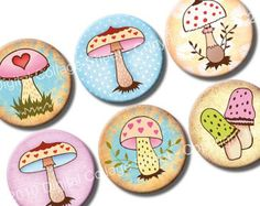 1 and 1.313 inch circles Sweet Mushrooms Digital Collage Sheet for valentines woodland bottle caps, cupcake toppers. Digital download