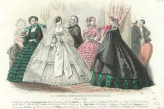 Cinco mujeres, todas en un vestido de novia y en el fondo dos hombres en conversaci�n de Le Journal des Dames and Demoiselles, octubre 1859 grabado colores Bonnard, J. David, Jules (1808-1892) Lamoureux