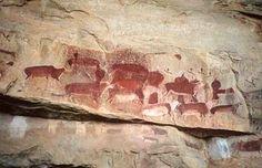 San-painting, Bosjesmannen Location: Drakenberg, South Africa (old?)