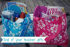 End of year teacher gifts - everything they need for a day of fun in the sun! Can be done very inexpensively with items from the Dollar Store.