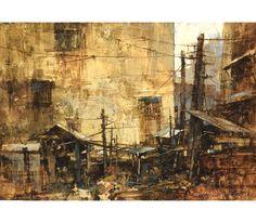 Chien Chung Wei, Broken Structure (Gouache) 殘破的結構 26.2 × 18.1cm Watercolor Artists, Watercolor Landscape, Artist Painting, Landscape Paintings, Watercolor Paintings, Watercolors, Landscapes, Love Art, All Art