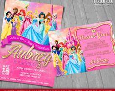 Disney Princess Invitation Disney Princesses por MaluhiaPrints
