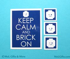 Keep Calm and Brick On Magnet Set Lego Geek Magnet by MoLGifts