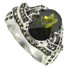 Checkerboard Cut Olivine Ring Size: 10 SR5830