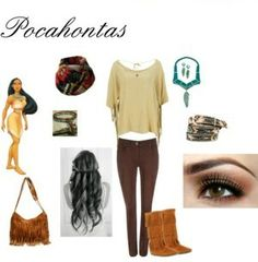 Outfit Pocahontas, encuentra todos los estilos de los personajes de Disney en... http://www.1001consejos.com/outfits-al-estilo-disney/ #Disney #moda #1001consejos