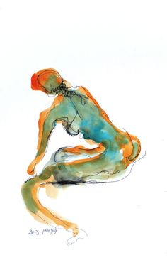 Naked Woman Figurative Painting Original Watercolor by SeferArt, $59.00