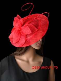 Bright red BIG saucer Sinamay Fascinator Hat with ostrich spine for wedding.,kentucky derby,party,melbourne cup,ascot races.