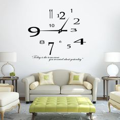 Removable Modern design Clock Wall Sticker Home Decoration wall clock sticker living room decor vinyl stickers wall decals Quote