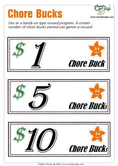 """Printable chore bucks. A way to """"pay"""" your kids for doing their chores. They can cash them in for a reward when they save enough."""