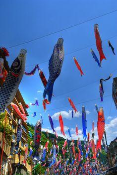 鯉のぼり 「Koinobori]      flying carp
