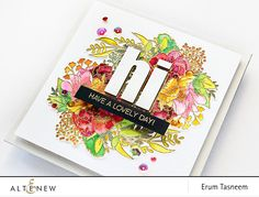 """Quick Watercolour Card with Just Because Stamp Set... stamped twice and heat embossed  withAntique Gold Crisp Embossing Powder. Watercoloured w distress inks and reinkers. Bold Alphabet Die Set.. cut """"HI 3x to layer it up. Then w Gold Mirror Cardstockto add as offset. 5.5×5.5 square card front."""