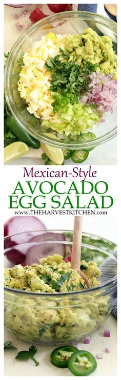 This Mexican Style Avocado Egg Salad is a little like guacamole meets egg salad minus the mayo. It's made with avocado, celery, purple onion, cilantro, jalapeño and lime juice. Super simple and super