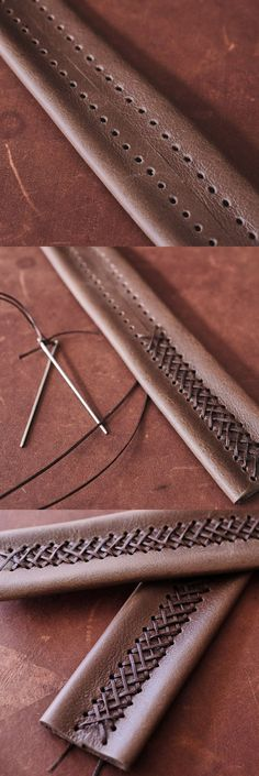 cross stitching. Lacing is a highly decorative method of sewing leather projects together with lace of the same or differing colors for the desired look.  Leather edge lacing is often used with tooled leathers as the combination of styles complement one another for a professional looking finish for your handmade leather goods. TAKE A LOOK AT THE FINISHED PRODUCT.  #stitch #technique #leatherstitching #leatherwork #craftsmanship #craftsmen #handmade #braidstitch