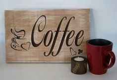 Rustic Wood Sign Home Decor Sign Coffee Sign by RCOriginalsGallery