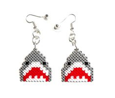 Shark earrings animal earrings Perler Beads earrings Hama