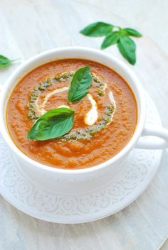 This wonderful tomato soup is bursting with flavour. Full of lovely fresh ingredients, great for the waistline, and it still feels so indulgent - what more could you want?! | emnzest.com