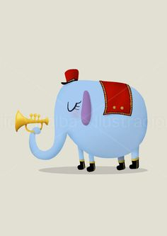 Ilustración infantil elefante tocando la trompeta en una banda de música 14.8 x 21cm A5