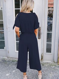 Bow-embellished V-neck Cold-shoulder Jumpsuits Casual Jumpsuit, Best Sellers, Going Out, Cold Shoulder, Chiffon, Short Sleeves, Bows, V Neck, Jumpsuits