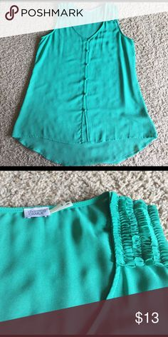 Green tank top Long green tank top meant for wearing over leggings, etc. size small however does run a little big. Never worn ! Tops Tank Tops