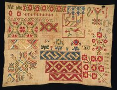 1826 Spanish samplers traditionally included the areas of geometric pattern you can see on this Mexican sampler of 1826.