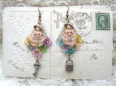 flower girl earrings assemblage southern belle romantic floral