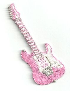 50'S GUITAR PINK EMBROIDERED IRON ON PATCH