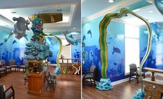 Underwater themed waiting area by Imagination Dental Solutions